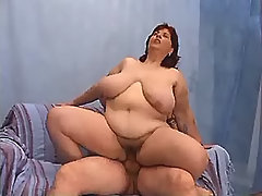 Chesty fatty jumping on cock on bed bbw porn