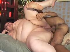 Latin guy hard drills flabby woman