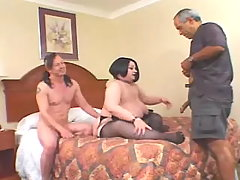 Enormous woman fucked tattooed man