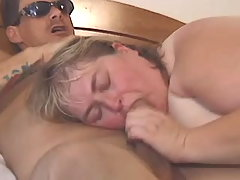 Paunchy BBW playing with big dick