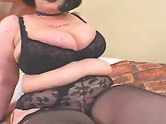 Sensual brunette mom shows off body